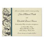 """Elegant Wedding Invitation: Black, Teal, and Taupe 5"""" X 7"""" Invitation Card"""