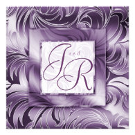 Elegant Wedding Invitation Leaf Floral Purple Silv