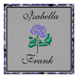 Elegant Wedding Invitation with Gorgeous Purple Ro