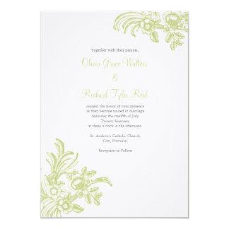 Elegant wedding invitation with Green Flowers