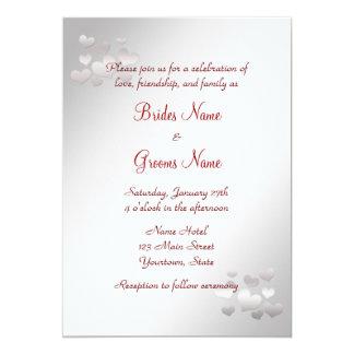 Elegant Wedding Invitation with pearl hearts