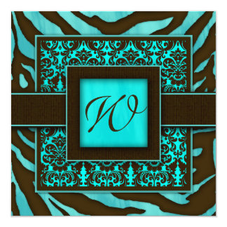 Elegant Wedding Invitation Zebra Damask BB