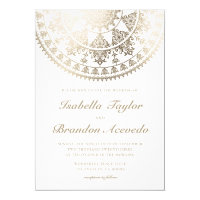 Elegant Wedding Invitations Gold Foil Mandala