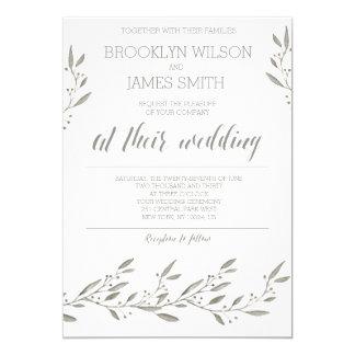 Elegant Wedding Invitations Grey Floral