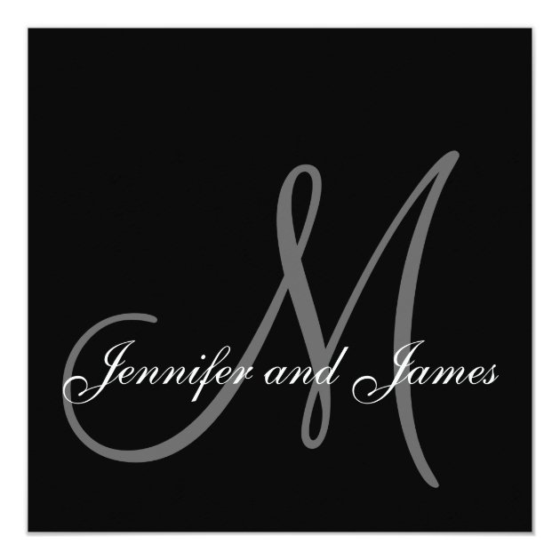 elegant wedding invitations monogram initial names | zazzle, Wedding invitations