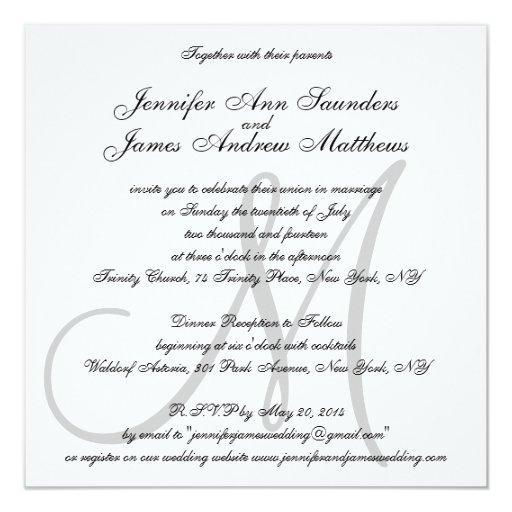 Elegant Wedding Invitations Monogram Initial Names Zazzle