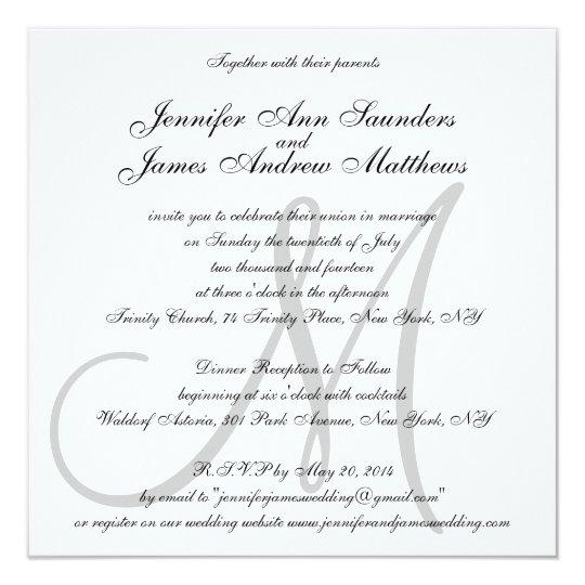 Elegant Wedding Invitations Monogram Initial Names Zazzlecom