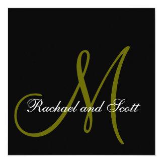 Elegant Wedding Invitations Monogram Names Black
