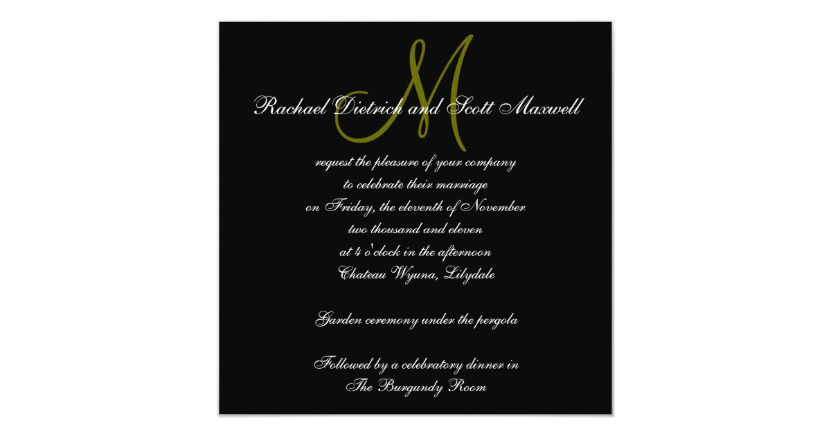 Elegant Monogram Wedding Invitations: Elegant Wedding Invitations Monogram Names Black