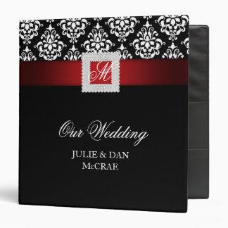 Elegant Wedding Jewels Red Black White 3 Ring Binders