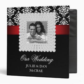 Elegant Wedding Jewels Red Black White Photo Vinyl Binder