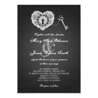 Elegant Wedding Key To My Heart Black 5x7 Paper Invitation Card