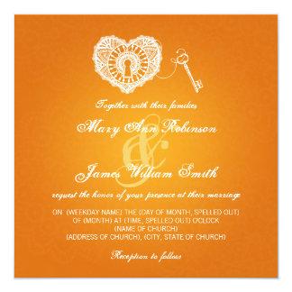 Elegant Wedding Key To My Heart Orange 5.25x5.25 Square Paper Invitation Card