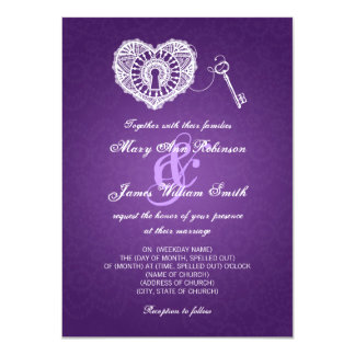 Elegant Wedding Key To My Heart Purple 4.5x6.25 Paper Invitation Card