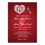 Elegant Wedding Key To My Heart Red Card