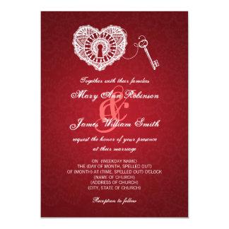 Elegant Wedding Key To My Heart Red Invitation
