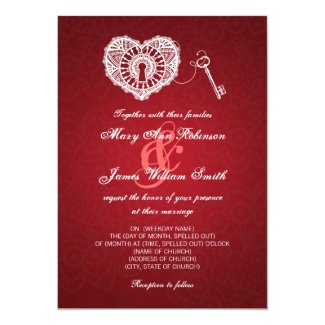 Elegant Wedding Key To My Heart Red Personalized Announcement