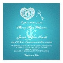 Elegant Wedding Key To My Heart Turquoise Invitation