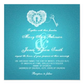 Elegant Wedding Key To My Heart Turquoise 5.25x5.25 Square Paper Invitation Card