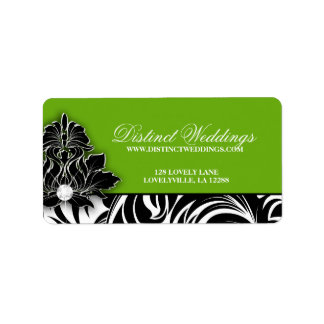 Elegant Wedding Label Jewelry Logo Lime Green