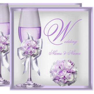 Elegant Wedding Lavender Purple Lilac Champagne 2 Card