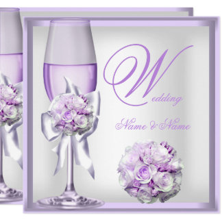 Elegant Wedding Lavender Purple Lilac Champagne 2 Invitation