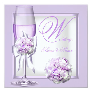Elegant Wedding Lavender Purple Lilac Champagne 3 Custom Invite