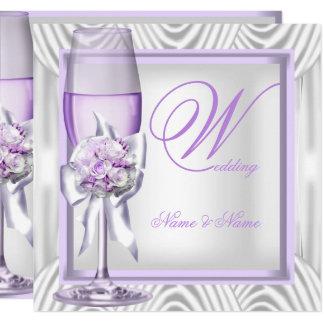 Elegant Wedding Lavender Purple Lilac Champagne Invitation