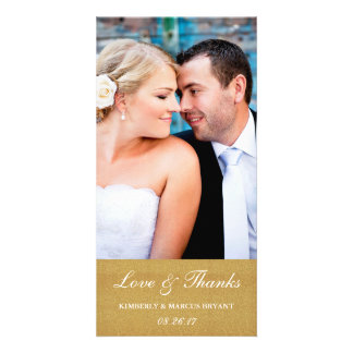 Elegant Wedding Love and Thanks Photo Card / Gold