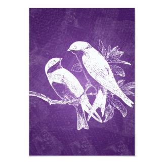 Elegant Wedding Love Birds Purple Custom Announcement