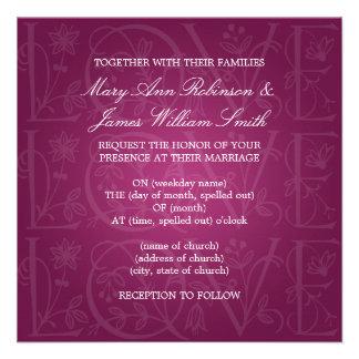 Elegant Wedding Love Flourish Berry Pink Invitation