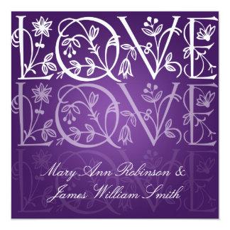Elegant Wedding Love Flourish Purple Card