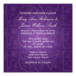Elegant Wedding Love Flourish Purple Personalized Invite
