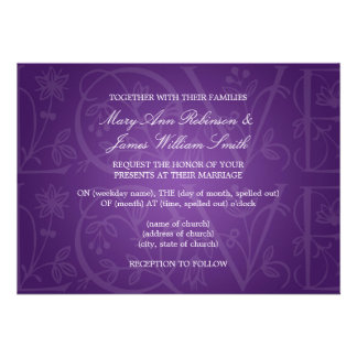 Elegant Wedding Love Flourish Purple Personalized Invitation