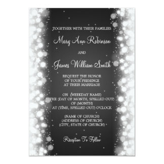 Elegant Wedding Magic Sparkle Black Card