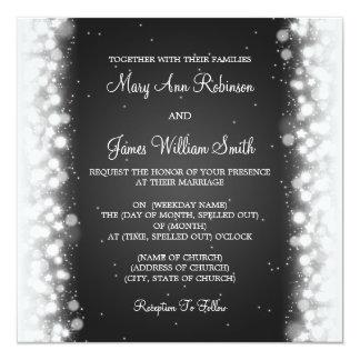 Elegant Wedding Magic Sparkle Black Personalized Announcement