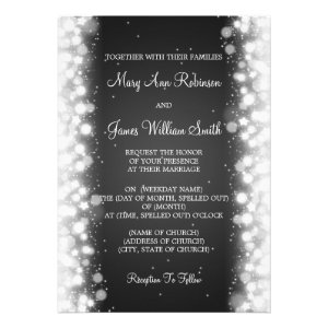 Elegant Wedding Magic Sparkle Black Invitation