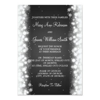 Elegant Wedding Magic Sparkle Black Invitation