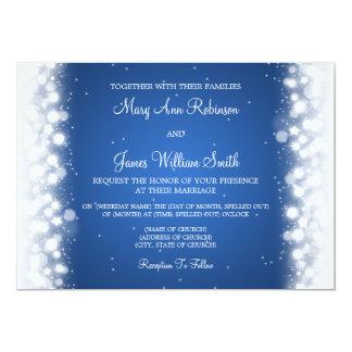 Elegant Wedding Magic Sparkle Blue 5x7 Paper Invitation Card
