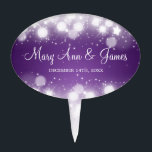 """Elegant Wedding Magic Sparkle Purple Cake Topper<br><div class=""""desc"""">Elegant &quot;Magic Sparkle Purple &quot; designer gift template. An elegant wedding idea! Impress your family and friends with this stylish and modern design. Fully customizable! Easy to use and easy to personalize. Order Today!</div>"""
