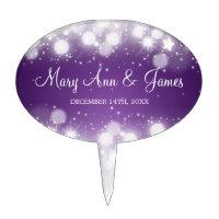 Elegant Wedding Magic Sparkle Purple Cake Topper