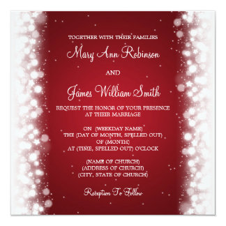 Elegant Wedding Magic Sparkle Red Card