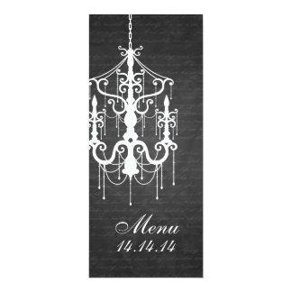 Elegant Wedding Menu Chandelier  Black Card