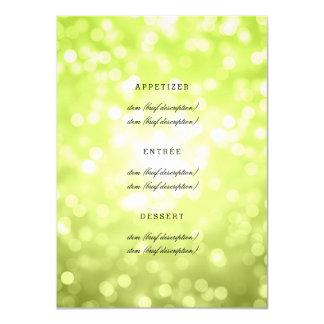 Elegant Wedding Menu Chartreuse Glitter Lights Card