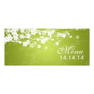 Elegant Wedding Menu Cherry Blossom Lime Green Custom Invites