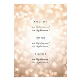 Elegant Wedding Menu Copper Glitter Lights Card