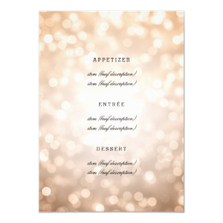 Elegant Wedding Menu Copper Glitter Lights 4.5x6.25 Paper Invitation Card
