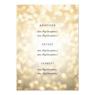 Elegant Wedding Menu Gold Glitter Lights 4.5x6.25 Paper Invitation Card