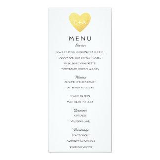 Elegant Wedding Menu heart initials Card