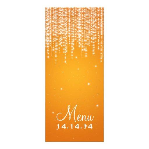 Elegant Wedding Menu Night Dazzle Orange Custom Invites